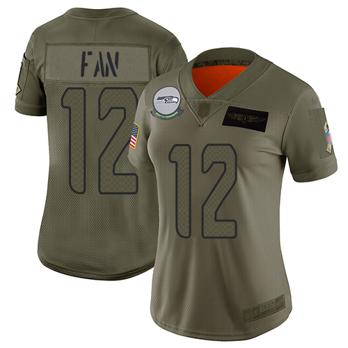 Nike Seahawks #12 Fan Camo Women's Stitched NFL Limited 2019 Salute to Service Jersey