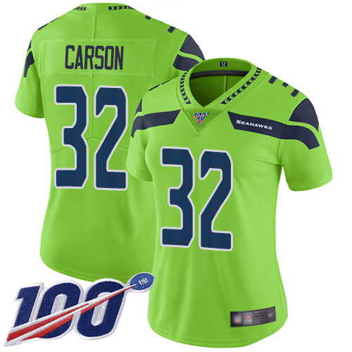 Nike Seahawks #32 Chris Carson Green Women's Stitched NFL Limited Rush 100th Season Jersey