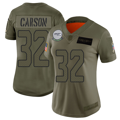 Nike Seahawks #32 Chris Carson Camo Women's Stitched NFL Limited 2019 Salute to Service Jersey