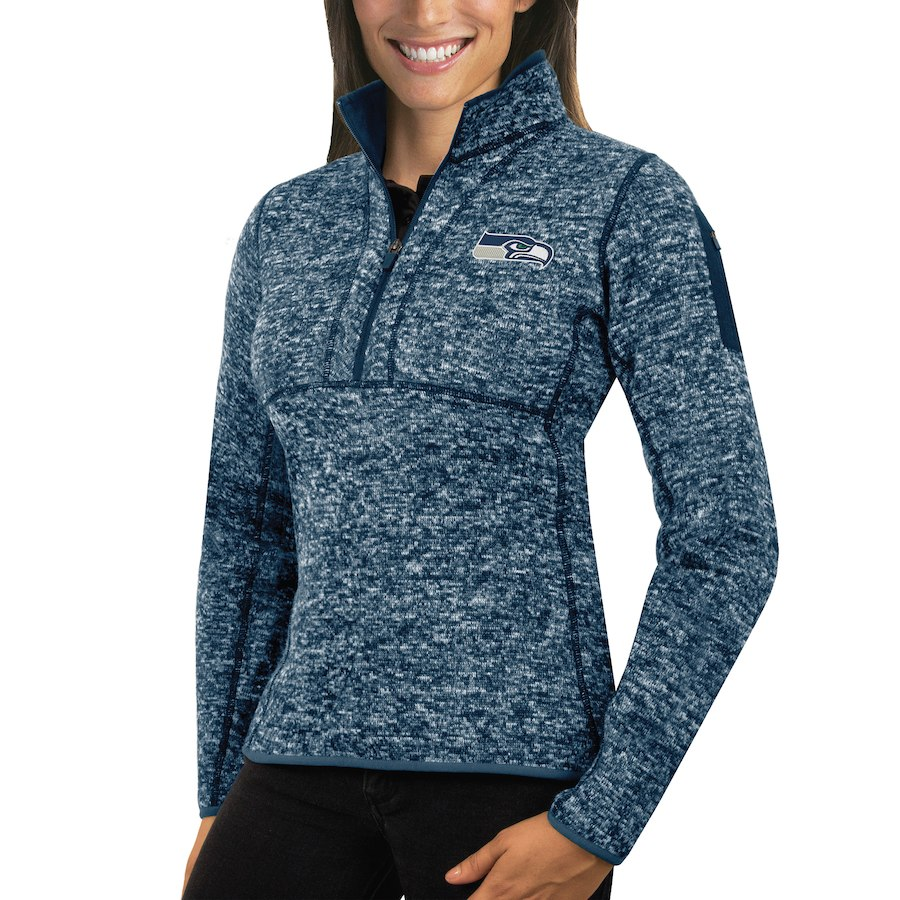 Seattle Seahawks Antigua Women's Fortune Half-Zip Sweater Heather College Navy