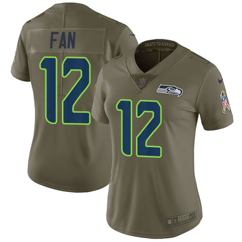 Nike Seahawks #12 Fan Olive Women's Stitched NFL Limited 2017 Salute to Service Jersey