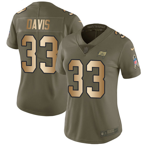 Nike Buccaneers #33 Carlton Davis III Olive/Gold Women's Stitched NFL Limited 2017 Salute to Service Jersey
