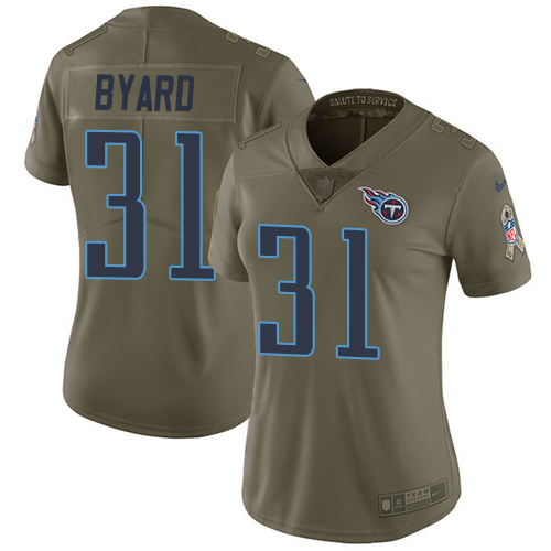 Nike Titans #31 Kevin Byard Olive Women's Stitched NFL Limited 2017 Salute to Service Jersey