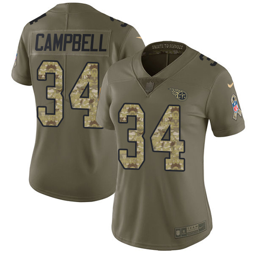 Nike Titans #34 Earl Campbell Olive/Camo Women's Stitched NFL Limited 2017 Salute to Service Jersey