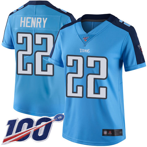 Nike Titans #22 Derrick Henry Light Blue Women's Stitched NFL Limited Rush 100th Season Jersey