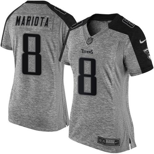 Nike Titans #8 Marcus Mariota Gray Women's Stitched NFL Limited Gridiron Gray Jersey