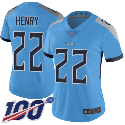 Nike Titans #22 Derrick Henry Light Blue Alternate Women's Stitched NFL 100th Season Vapor Limited Jersey