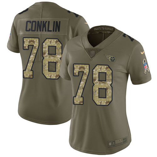 Nike Titans #78 Jack Conklin Olive/Camo Women's Stitched NFL Limited 2017 Salute to Service Jersey
