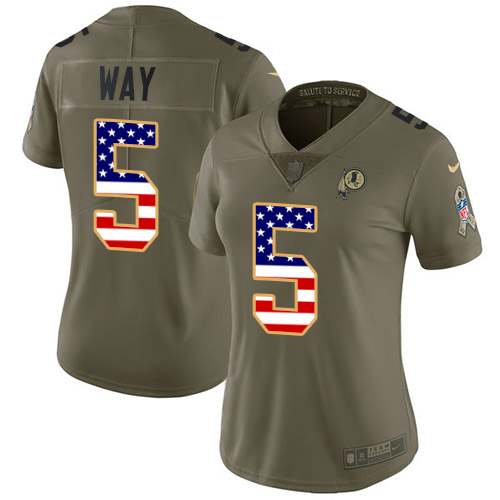 Nike Redskins #5 Tress Way Olive/USA Flag Women's Stitched NFL Limited 2017 Salute To Service Jersey