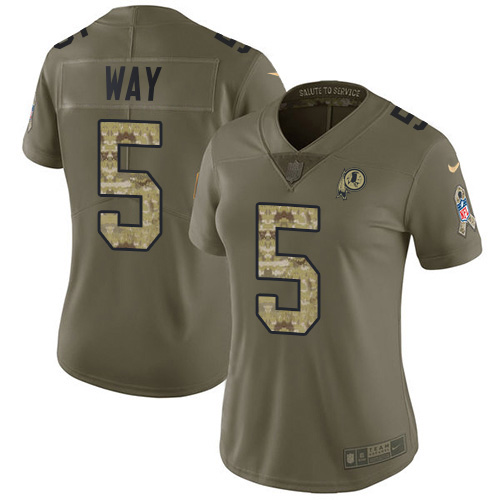 Nike Redskins #5 Tress Way Olive/Camo Women's Stitched NFL Limited 2017 Salute To Service Jersey