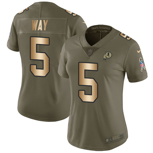 Nike Redskins #5 Tress Way Olive/Gold Women's Stitched NFL Limited 2017 Salute To Service Jersey