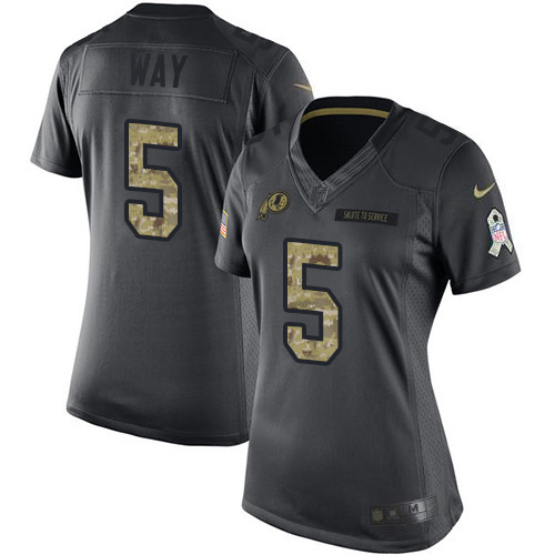 Nike Redskins #5 Tress Way Black Women's Stitched NFL Limited 2016 Salute to Service Jersey