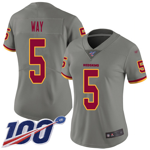 Nike Redskins #5 Tress Way Gray Women's Stitched NFL Limited Inverted Legend 100th Season Jersey