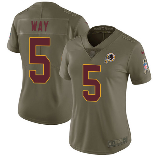 Nike Redskins #5 Tress Way Olive Women's Stitched NFL Limited 2017 Salute To Service Jersey