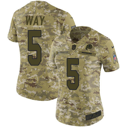 Nike Redskins #5 Tress Way Camo Women's Stitched NFL Limited 2018 Salute To Service Jersey
