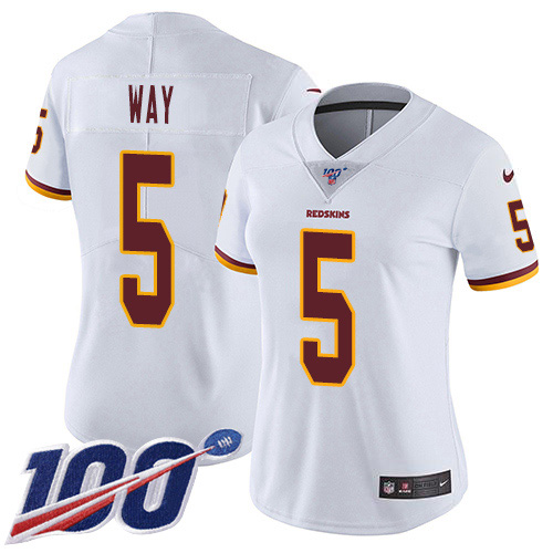Nike Redskins #5 Tress Way White Women's Stitched NFL 100th Season Vapor Untouchable Limited Jersey