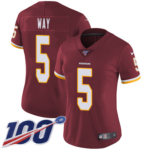 Nike Redskins #5 Tress Way Burgundy Team Color Women's Stitched NFL 100th Season Vapor Untouchable Limited Jersey