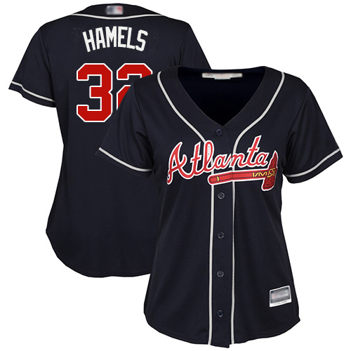 Braves #32 Cole Hamels Navy Blue Alternate Women's Stitched MLB Jersey