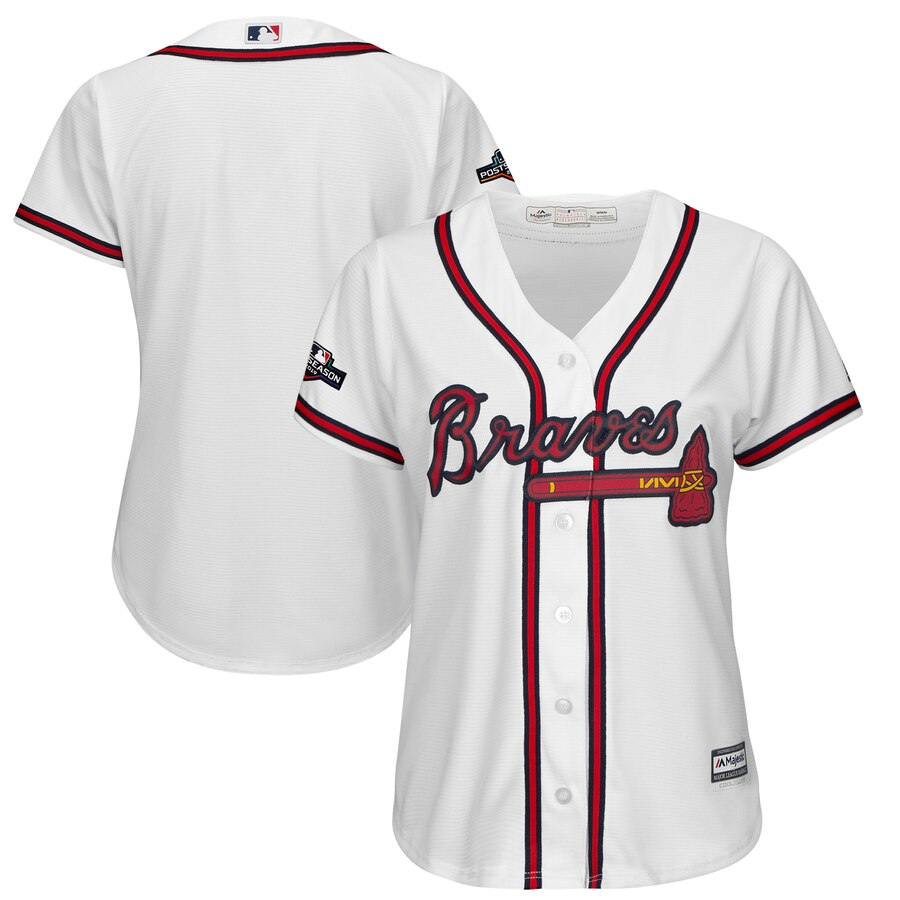 Atlanta Braves Majestic Women's 2019 Postseason Official Cool Base Team Jersey White