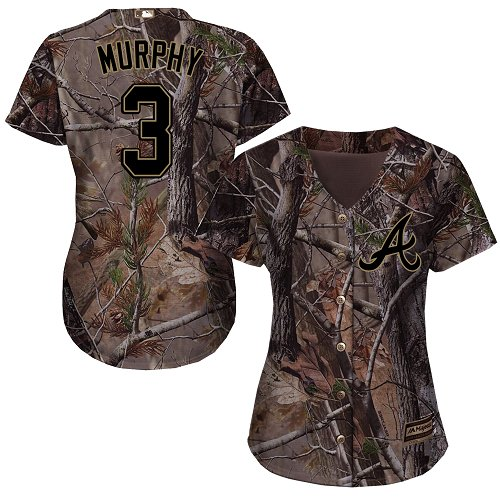 Braves #3 Dale Murphy Camo Realtree Collection Cool Base Women's Stitched MLB Jersey