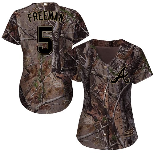 Braves #5 Freddie Freeman Camo Realtree Collection Cool Base Women's Stitched MLB Jersey