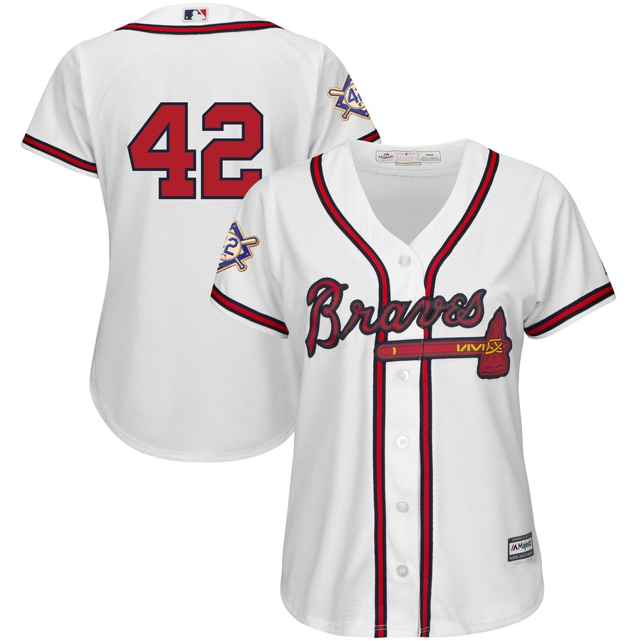 Atlanta Braves #42 Majestic Women's 2019 Jackie Robinson Day Official Cool Base Jersey White
