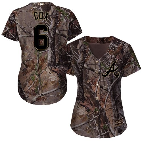 Braves #6 Bobby Cox Camo Realtree Collection Cool Base Women's Stitched MLB Jersey