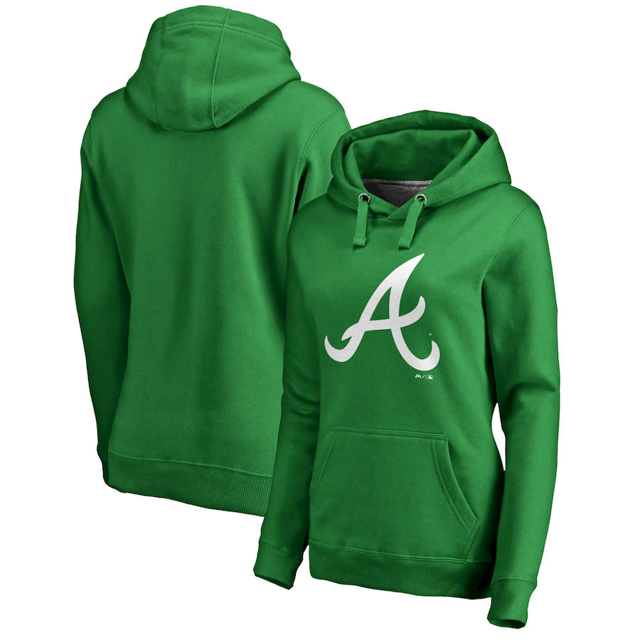 Atlanta Braves Majestic Women's St. Patrick's Day White Logo Pullover Hoodie Kelly Green