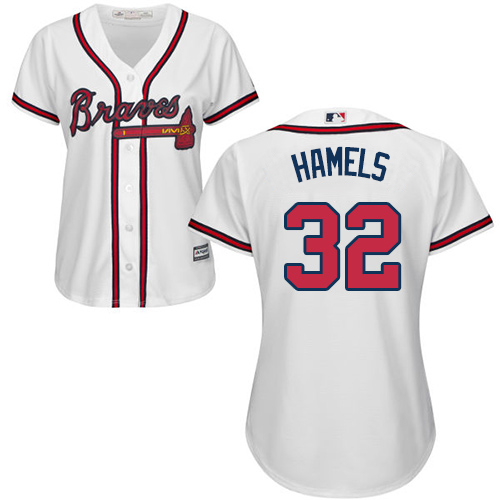 Braves #32 Cole Hamels White Home Women's Stitched MLB Jersey