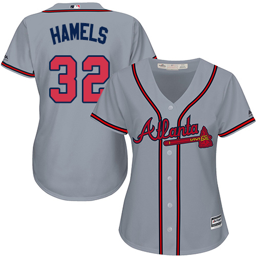 Braves #32 Cole Hamels Grey Road Women's Stitched MLB Jersey