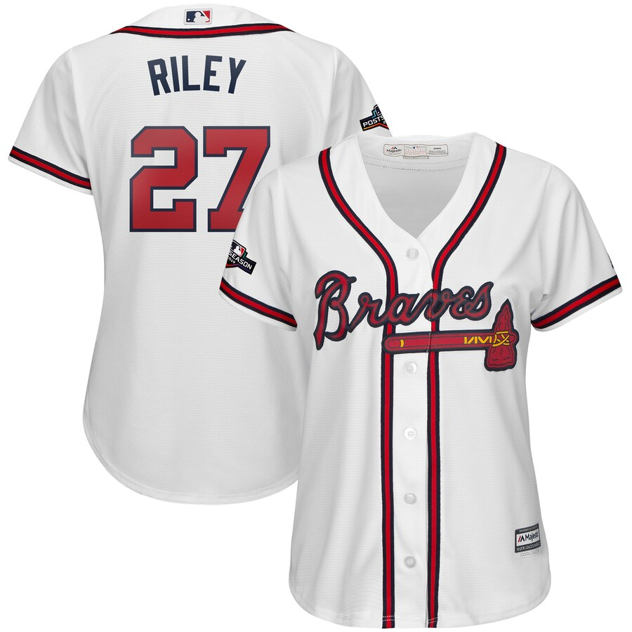 Atlanta Braves #27 Austin Riley Majestic Women's 2019 Postseason Official Cool Base Player Jersey White
