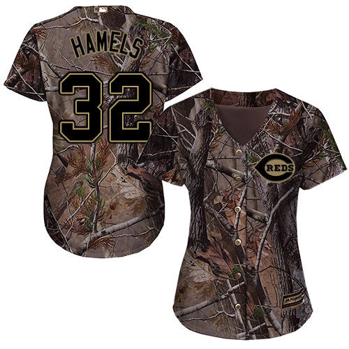 Braves #32 Cole Hamels Camo Realtree Collection Cool Base Women's Stitched MLB Jersey