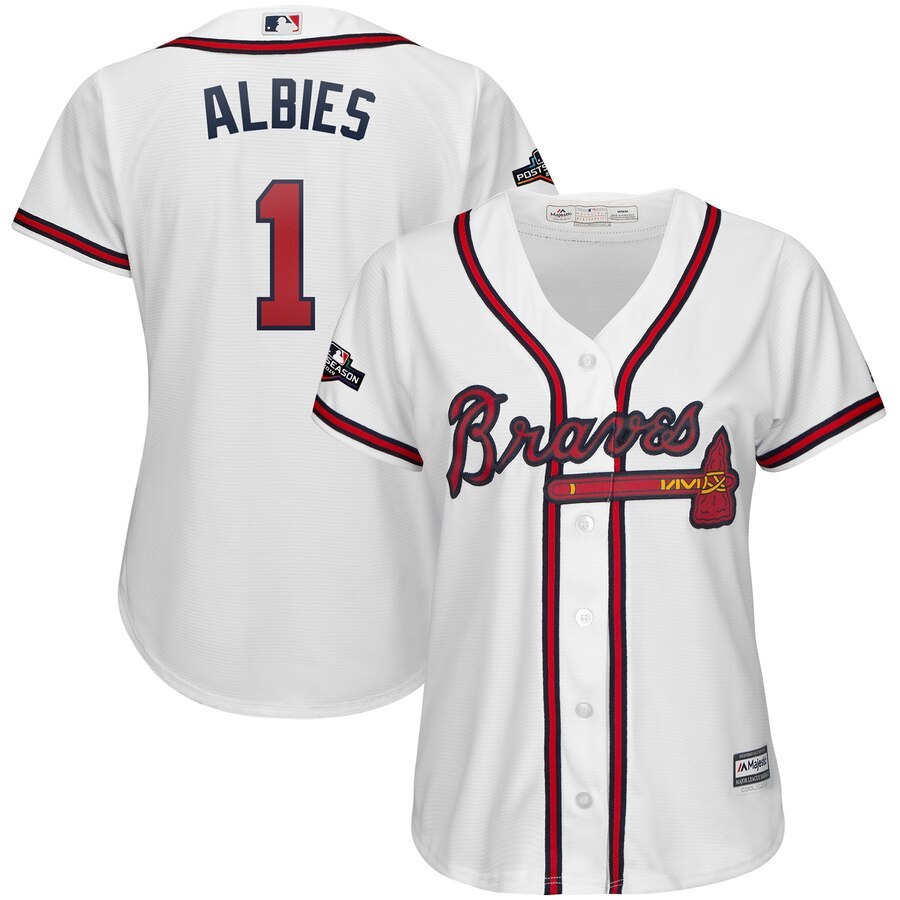 Atlanta Braves #1 Ozzie Albies Majestic Women's 2019 Postseason Official Cool Base Player Jersey White