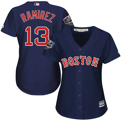 Red Sox #13 Hanley Ramirez Navy Blue Alternate 2018 World Series Women's Stitched MLB Jersey