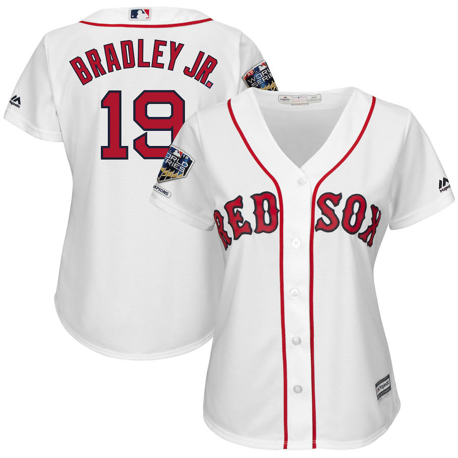 Boston Red Sox #19 Jackie Bradley Jr. Majestic Women's 2018 World Series Champions Home Cool Base Player Jersey White
