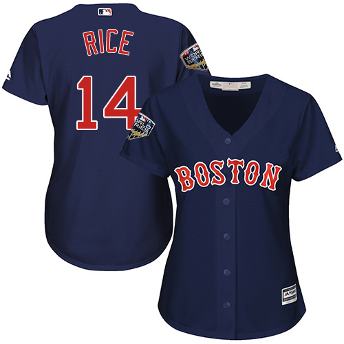 Red Sox #14 Jim Rice Navy Blue Alternate 2018 World Series Women's Stitched MLB Jersey