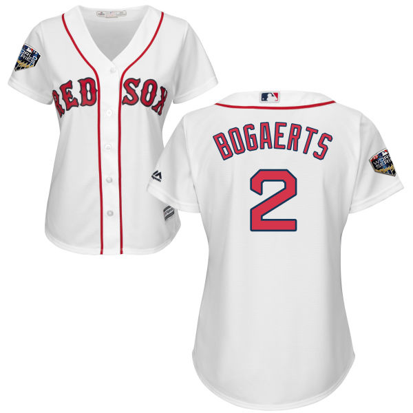 Red Sox #2 Xander Bogaerts White Home 2018 World Series Women's Stitched MLB Jersey