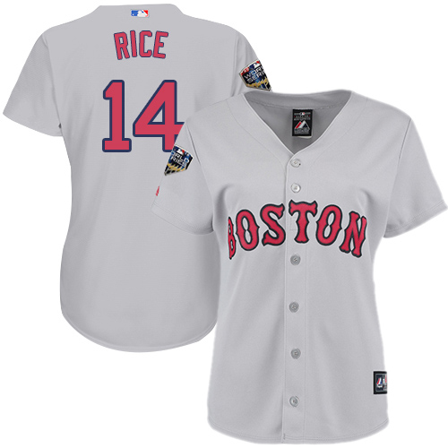 Red Sox #14 Jim Rice Grey Road 2018 World Series Women's Stitched MLB Jersey