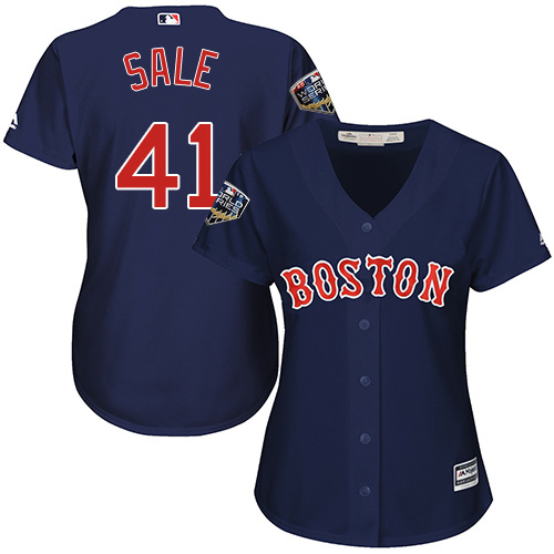 Red Sox #41 Chris Sale Navy Blue Alternate 2018 World Series Women's Stitched MLB Jersey