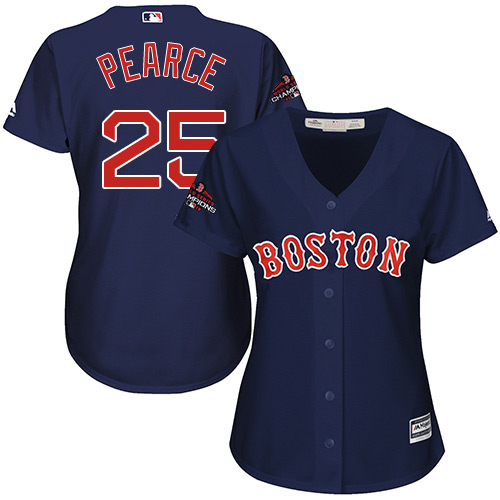 Red Sox #25 Steve Pearce Navy Blue Alternate 2018 World Series Champions Women's Stitched MLB Jersey