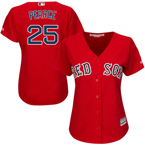 Red Sox #25 Steve Pearce Red Alternate Women's Stitched MLB Jersey