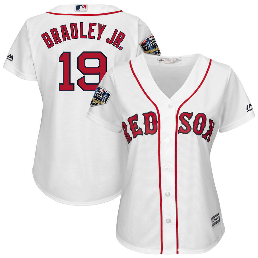 Boston Red Sox #19 Jackie Bradley Jr. Majestic Women's 2018 World Series Cool Base Player Jersey White