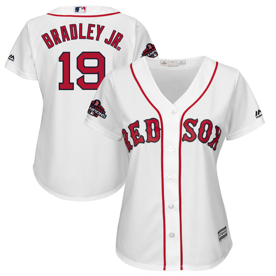 Boston Red Sox #19 Jackie Bradley Jr. Majestic Women's 2018 World Series Champions Team Logo Player Jersey White