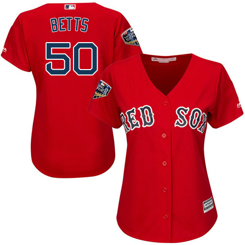 Red Sox #50 Mookie Betts Red Alternate 2018 World Series Women's Stitched MLB Jersey