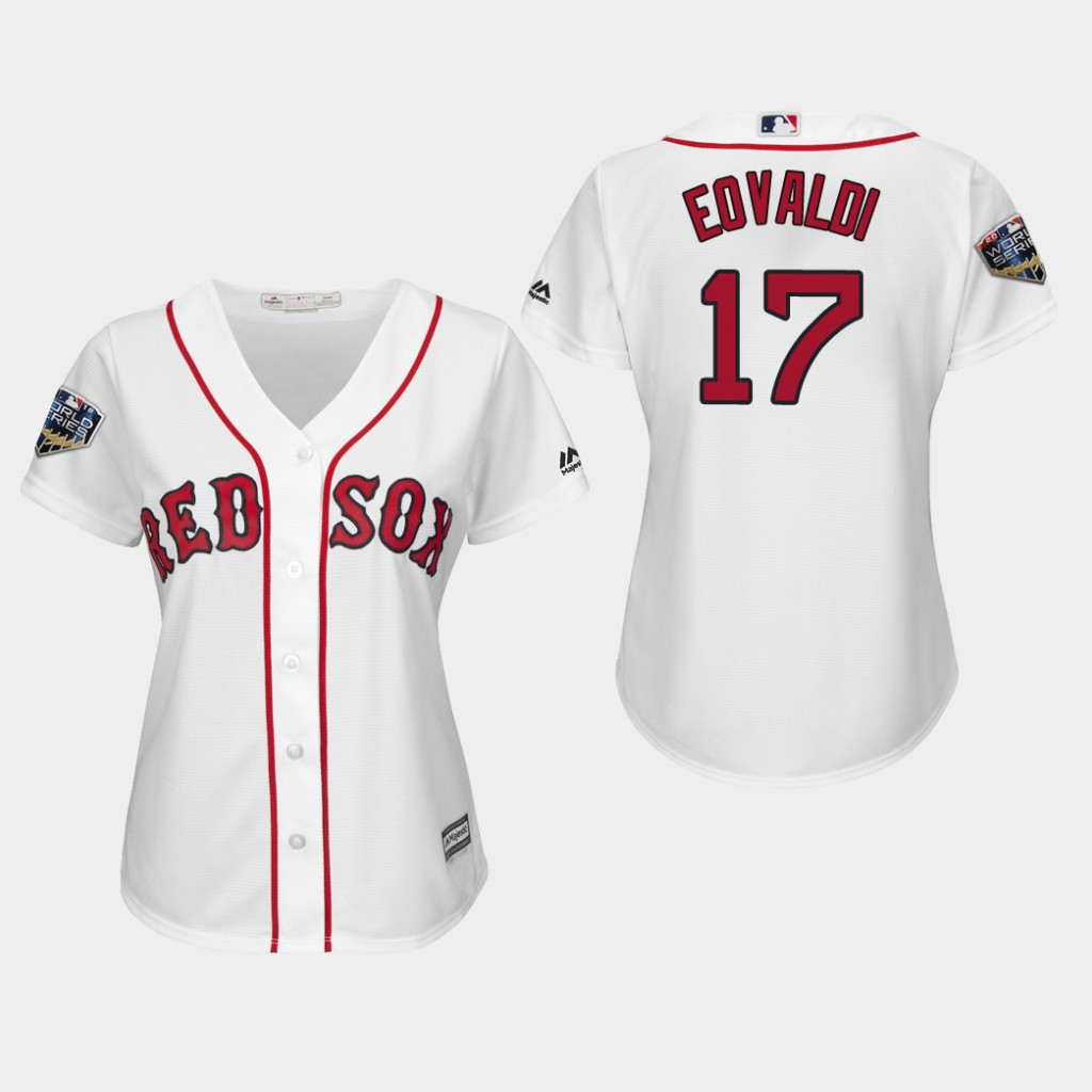 Red Sox #17 Nathan Eovaldi White Home 2018 World Series Women's Stitched MLB Jersey