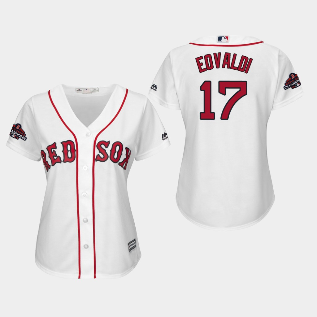 Red Sox #17 Nathan Eovaldi White Home 2018 World Series Champions Women's Stitched MLB Jersey