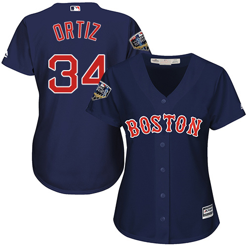 Red Sox #34 David Ortiz Navy Blue Alternate 2018 World Series Women's Stitched MLB Jersey