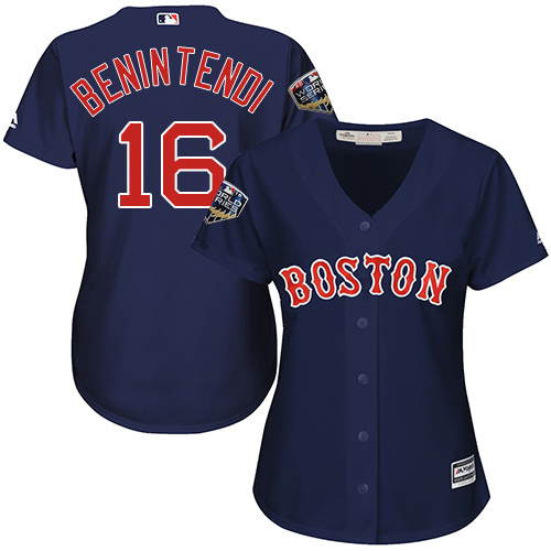 Red Sox #16 Andrew Benintendi Navy Blue Alternate 2018 World Series Women's Stitched MLB Jersey