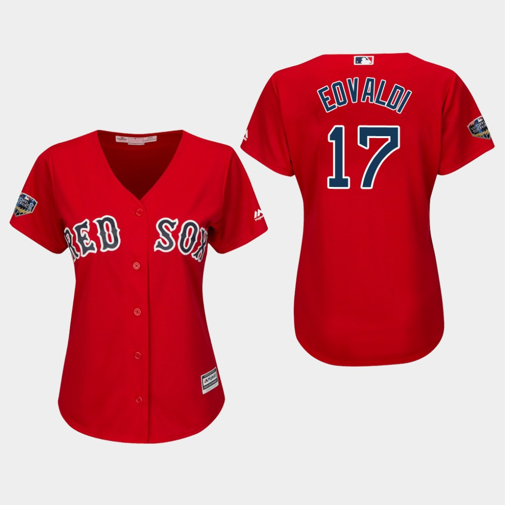 Red Sox #17 Nathan Eovaldi Red Alternate 2018 World Series Women's Stitched MLB Jersey