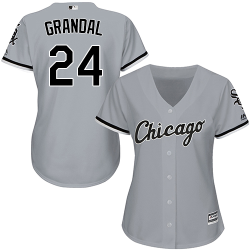 White Sox #24 Yasmani Grandal Grey Road Women's Stitched MLB Jersey